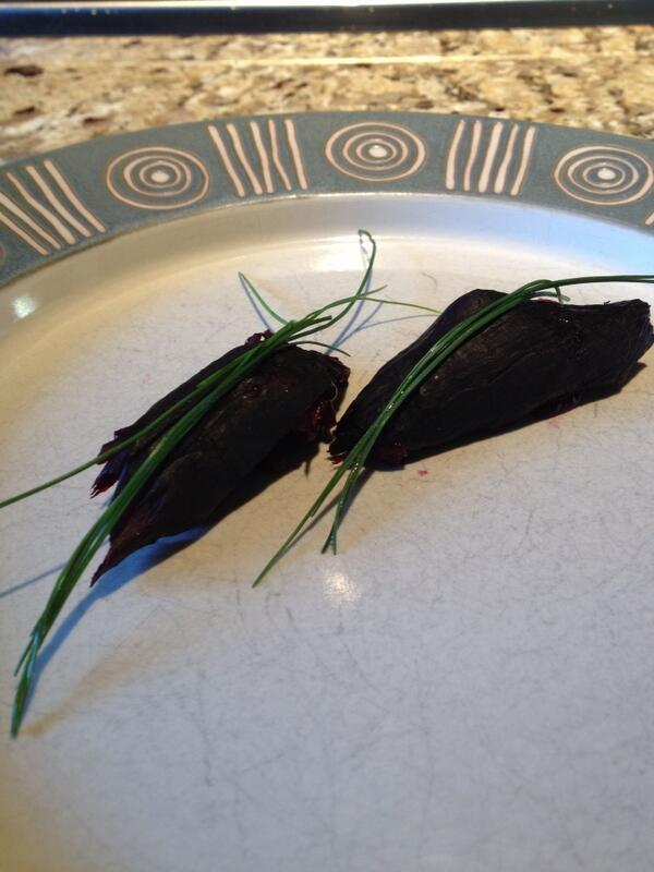 John Shields (@ChefJohnShields): Beet nigiri...on some sweet ass china @geomendes http://t.co/IZqjcZ8xiq