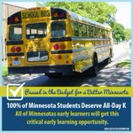 Passed in the Budget for a Better Minnesota: All-Day K for 100% of Minnesota Students #BetterMN #mnleg #mDayton http://t.co/DPvnx3R8H1