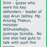 Me spilling beans on Srini - guess who were his key defenders - leader of opp Arun Jaitley. Mp Anurag (cont)