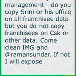 Q to IPL management - do you copy Srini or his office on all franchisee data- but you do not copy (cont)