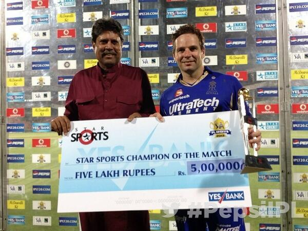 Former Indian captain Kapil Dev and MoM Brad Hodge pose for #TwitterMirror after the Eliminator #PepsiIPL http://t.co/Qhc8KjV091