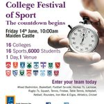 The College Festival of Sport, Friday 14th June, be there! Register your teams now! http://t.co/eGeEjKh6Ev