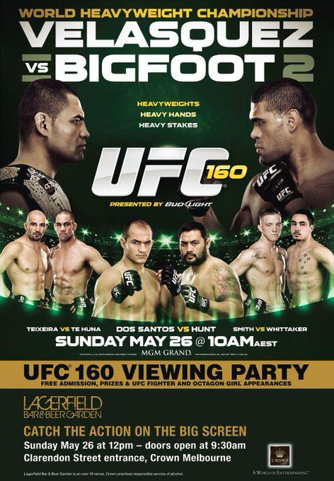 See you Sun! RT @UFC_Australia #UFC160 viewing party at @crownmelbourne's Lagerfield Bar & Beer Garden. MASSIVE!  http://t.co/cy9NlbRGIm