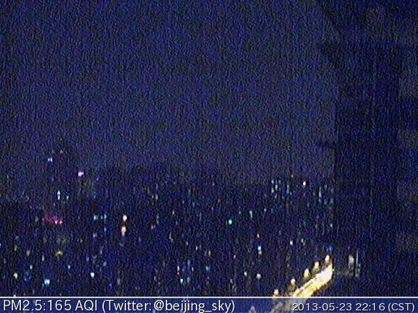 Now Beijing PM2.5 is 165 AQI 軽度汚染 - Unhealthy