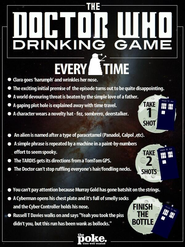 RT @gerrybot: The Doctor Who Drinking Game - it's a sure fire recipe for liver failure! #doctorwho http://t.co/fMPZIQxVJp