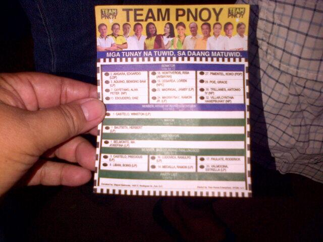 RT @lizaban2 back of sample ballot distributed in bagong silangan elem sch http://t.co/SPJru8v0AV - UNLAWFUL ELECTIONEERING! #ParaSaBayan