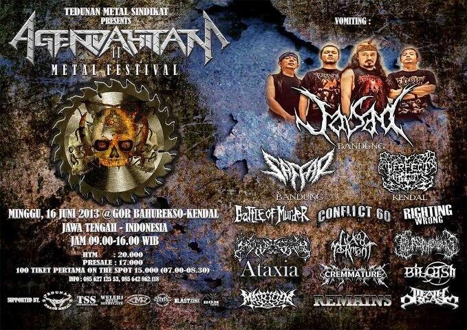 Tedunan Metal Sindikat Present : AGENDA HITAM #2  Minggu,16 Juni 2013 @ Gor Bahurekso -Kendal-Jawa Tengah Indosesia http://t.co/drpMozlhVt