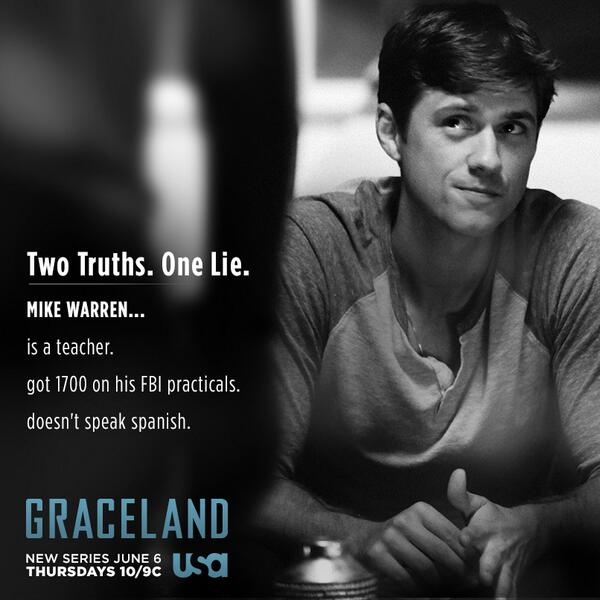 Agent Mike Warren will soon learn how important it is to be able to spin a lie in #Graceland. Can you spot his lie? http://t.co/RTcO7bMuxX