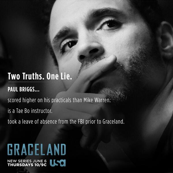 """Check out the """"Two Truths and a Lie"""" for Agent Paul Briggs (@DanielGRACELAND) & tell us if you can spot the lie. http://t.co/VsFnLBJoAx"""