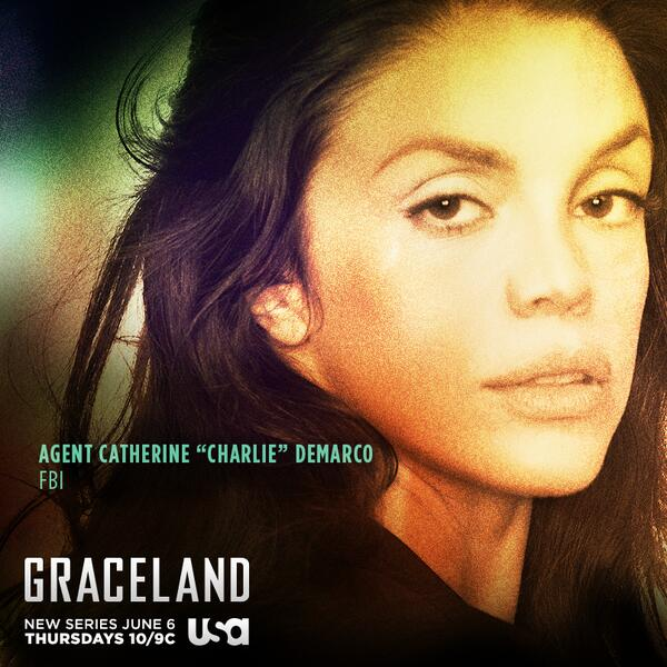 """Meet FBI Agent """"Charlie"""" DeMarco (Vanessa Ferlito) who takes going undercover to a new art form on #Graceland. http://t.co/3fMa6RZy3w"""