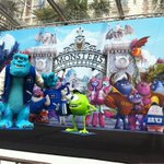 Disney-Pixar plugs their forthcoming film, 'Monsters University' outside the Hotel Carlton. #cannes2013