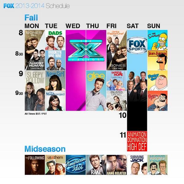 Take a look at the @FOXTV fall schedule! #bones will start off on Mondays, and move to Fridays in the late fall. http://t.co/Q36e8SeF65