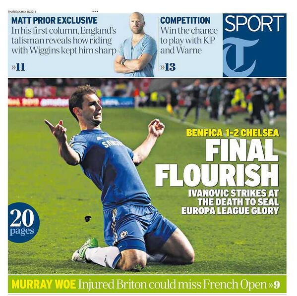 FINAL FLOURISH: full coverage of Chelsea's win and Test cricket previews too... http://t.co/ay12OpYSKr