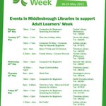 REMINDER:- #Middlesbrough Libraries are hosting a number of FREE events for Adult Learners Week 2013. Pls RT #ALW13 http://t.co/51YD8e5KkQ