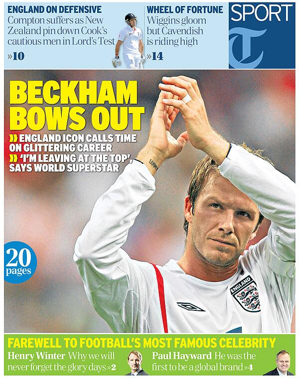 BECKHAM BOWS OUT: Friday's front page... http://t.co/Zo0Uo7UFPW