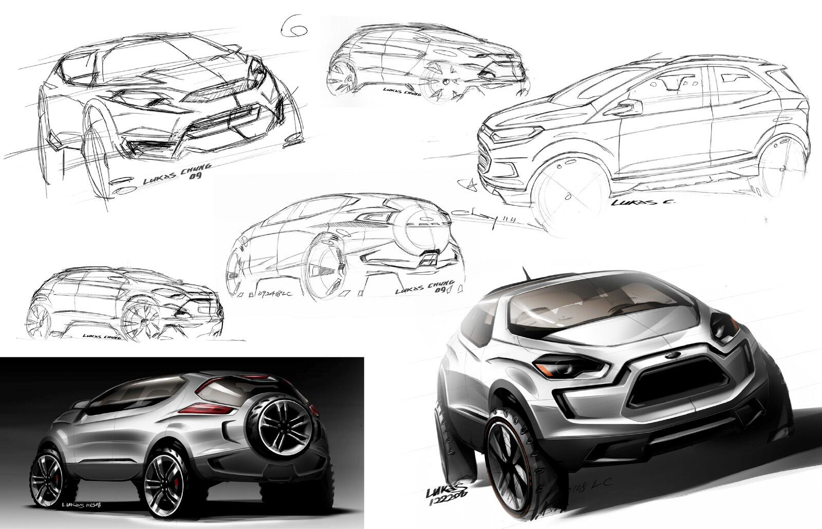 Pic of the Day #185 – Sketch development of the 2012 Ford EcoSport by designer Lukas Chung http://t.co/Lhjal1dbDi
