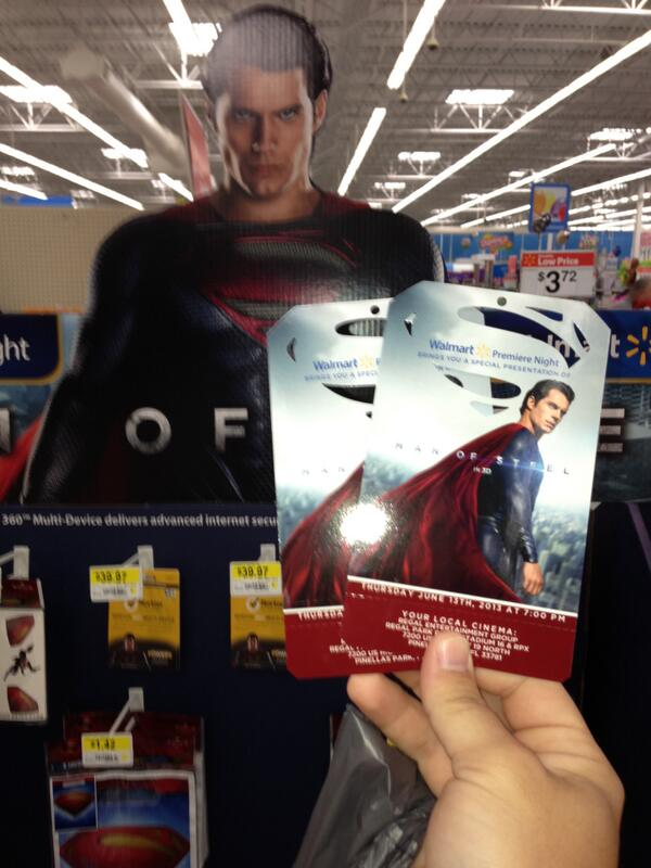 Got my 2 advance tickets to #ManofSteel #SeeSteelFirst thanks @Walmart