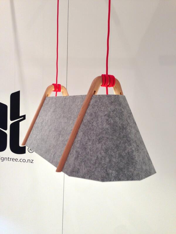 Design Tree's beautiful pendant lights pair recycled felt and FSC wood with bright pops of color. #ICFF http://t.co/MQhfFigIxP