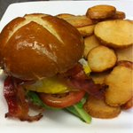 Todays brunch feature #Mavors @ConfedCentre is candied bacon, herb cream cheese, and egg on a butter pretzel bun$12 http://t.co/vTzhdMEinf