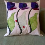 Tulips &amp; Ladybirds appliqud cushion made for my big sister for her birthday, in its new home on her sofa :) http://t.co/B42Z4Pbz4d