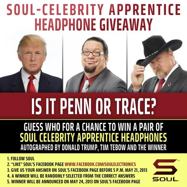 Enter to win SOUL-Celebrity Apprentice Headphones signed by @realDonaldTrump @TimTebow & the winner! #SOULGiveaway http://t.co/LkbZmcFyTd