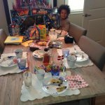 Birthday breakfast, celebrating my 5 year old son #DanishTraditions # familytime. http://t.co/jWDjYDfKIa