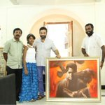 Artist Ap.Shreethar Gifted a Painting to Ulaganayagan #KamalHaasan