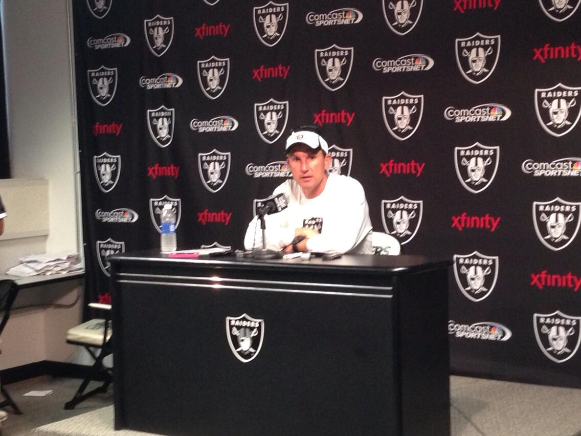 Head Coach Dennis Allen addressing the media after the first OTA practice. http://t.co/4QMghR5p0e