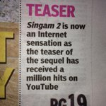 Thank you all for making singam2 teaser such aBig hit wid almst 12Lakhs hits,Tvsk followed by singam2 n soon biriyani