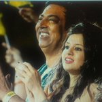 Vindoo Data Singh with Dhoni's wife Sakshi in an IPL match this season