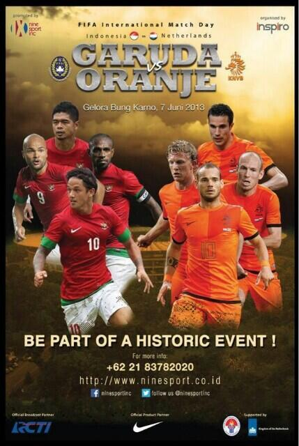 FIFA International Match Day 2013: Indonesia vs Belanda. 7 Juni 2013. Merahkan GBK Yukk Less  #INAvsNED http://t.co/eEbQSHDfYt