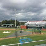 Lightning and heavy rain forces Upstate to miss Tuesday practice time at #ASunBSB Championship. http://t.co/F5kCi3xsPr
