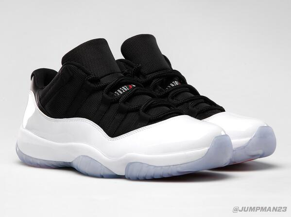 White patent leather sits above an icy sole on this Saturday's AJ 11 Retro Low drop. Take a look: http://t.co/Kx1TmyQErL