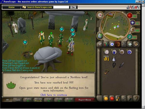 RT @purepurge: Old RS Pic 36: Mine from 2010. Me getting 99 Herblore. :) #RuneScape @RuneScape http://t.co/9Nl5cI1OG2