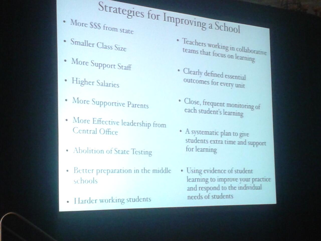RT @teachhill: Strategies for Improving a School....which side impacts student learning? @SolutionTree #atplc http://t.co/zmhDFJrx07