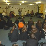 Medieval Day in full swing, moved indoors due to weather but that doesnt stop Mr Heath! http://t.co/dwaeo5dPlG