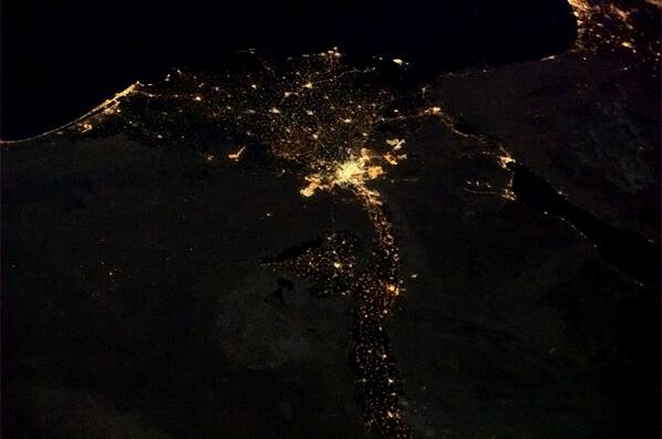 The mouth of the Nile and the Red Sea, Cairo brightly lit. http://t.co/rcA71Nu0VF