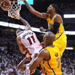 Photo of season for Indiana. RT @MattKryger: PHOTO:@Paul_George24 dunks hard on the Birdman. @indystar  #pacers http://t.co/ylSOlEjasK