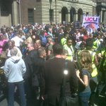 Big crowd gathering for Newcastle demo against EDL. Banners/flags from UCU, trades council, RMT, NUT, NAPO etc. http://t.co/EXJZw30oeA