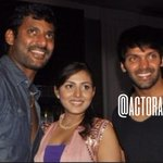 RT @Actorarya_FC: #Arya at Rakesh and Keerthi's Wedding Sangeet, with Vishal and @theMadhuShalini! Picture 2/4 http://t.co/bFR6bdafZN