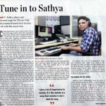 Thanks to The Hindu for the nice article & interview with #TVSK music director C.Sathya ... Happy Sunday to all:-)