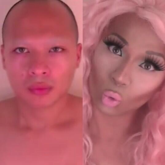 Why he really look like her tho?�� RT @MINVJoverdose: Nicki ! A Drag Queen transformed himself into you! @NICKIMINAJ http://t.co/sZ2Dn9x2Oo