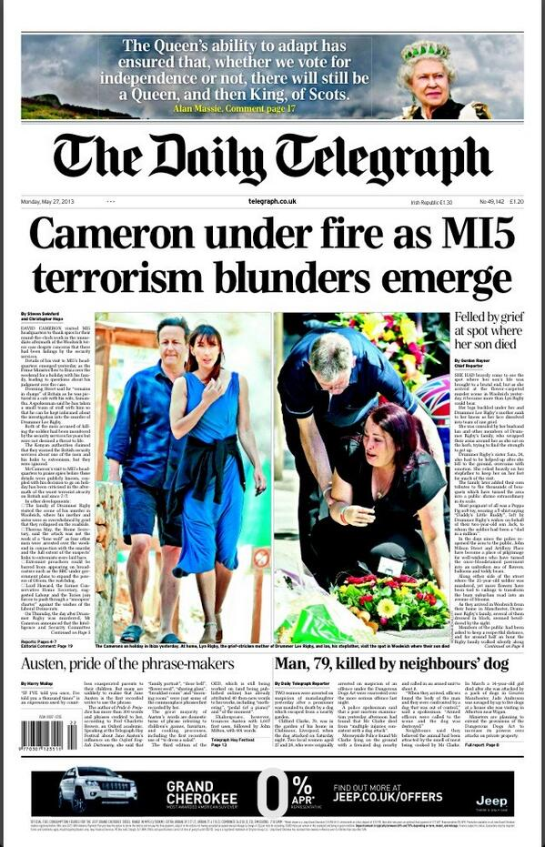 Daily Telegraph: Cameron under fire as MI5 terrorism blunders emerge #tomorrowspaperstoday #bbcpapers http://t.co/dFWUIq7v2w