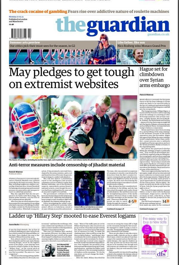 Guardian: May pledge to get tough on extremist websites #tomorrowspaperstoday #bbcpapers http://t.co/tUCPkpmah1
