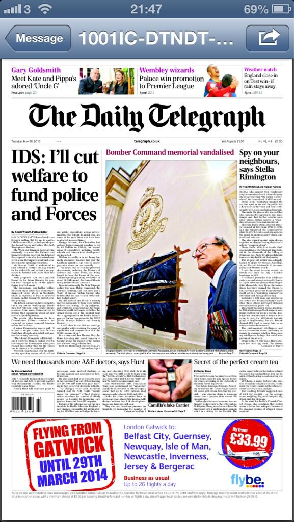 Telegraph: IDS - I'll cut welfare to fund police and forces #tomorrowspaperstoday #bbcpapers http://t.co/XzyEfcU2XG