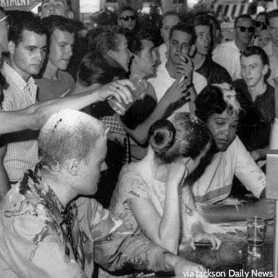 50 years ago: Woolworth's sit-in in Jackson MS, a white mob attacked mixed group seated at whites-only counter http://t.co/3M9HCsEZNI #icymi