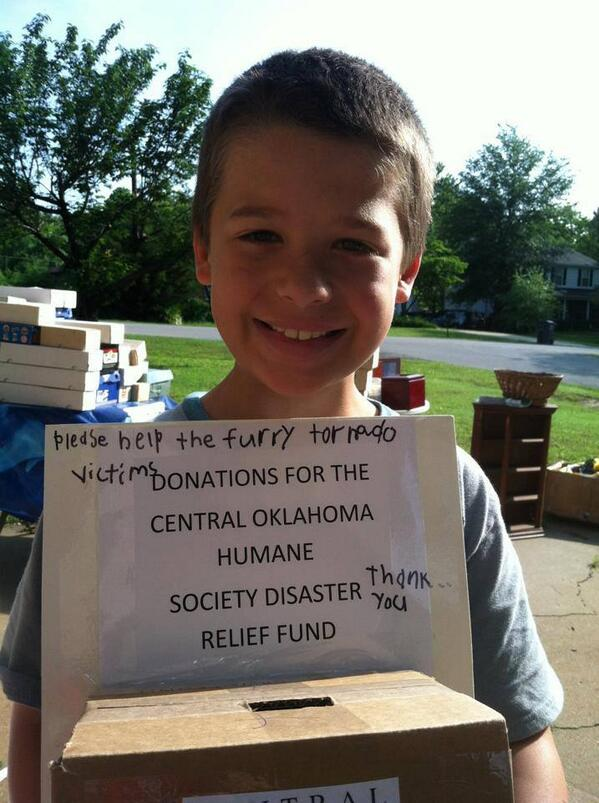 Kiernan had a garage sale last week to raise money for displaced animals.  What a sweet boy - thank you Kiernan! http://t.co/oE60cRsQhm