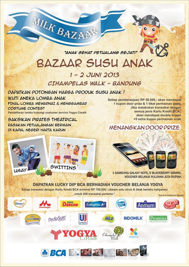 Jangan Lupa buat dateng ke BAZAAR MILK FAIR di CIWALK tgl 1 & 2 Juni 2013 yaa!! Banyak Surprisee!! ;) http://t.co/GGkgkazJ73