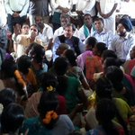 Sitting on floor interacting with women beneficiaries of adult literacy programme in Mamandur village, Tamil Nadu