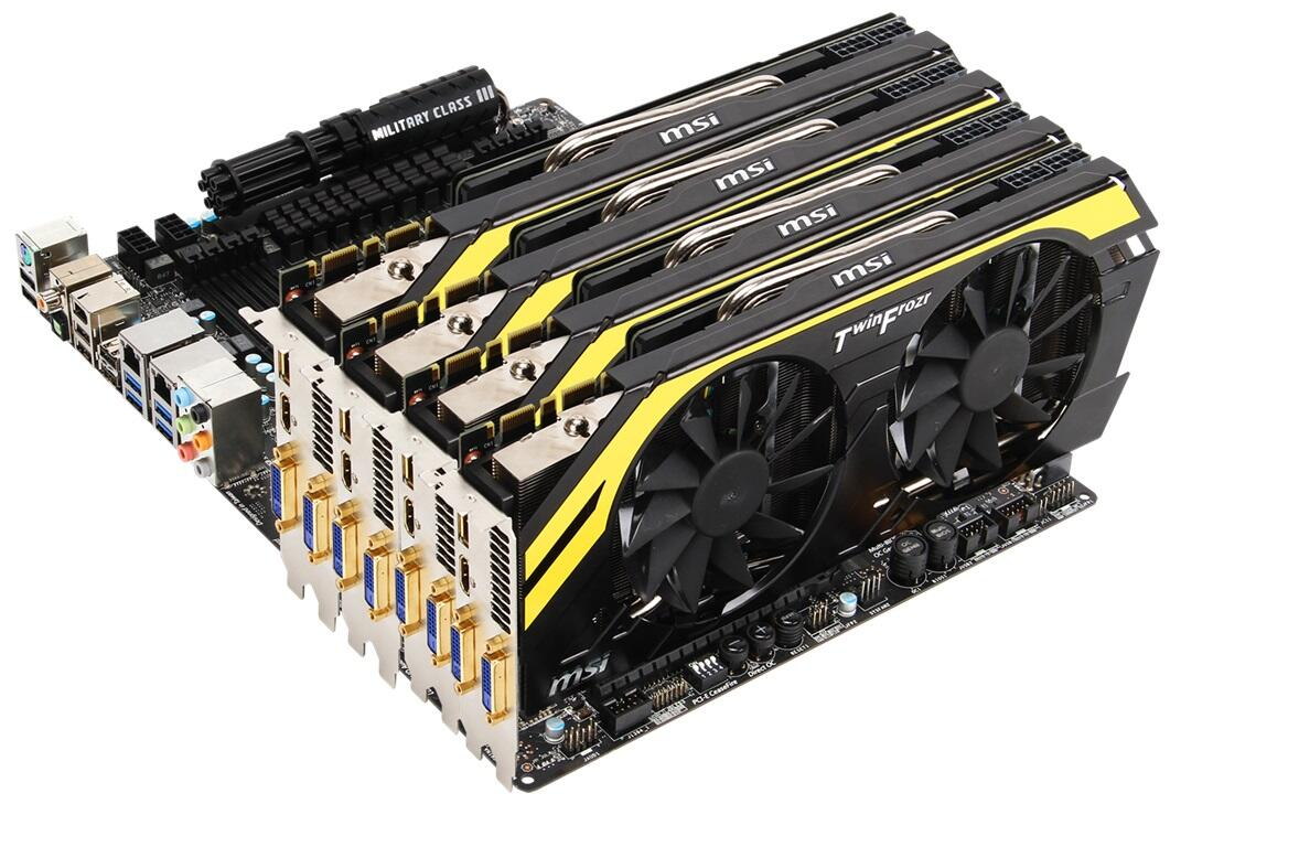 Speaking of the GTX 770, here's the MSI Lightning version in quad-SLI. Each card runs at 1150MHz, 1200MHz boost. http://t.co/huJy1pq3jS